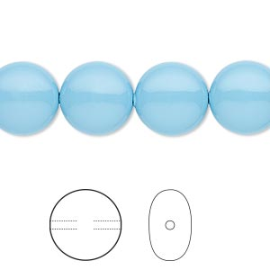 pearl, swarovski crystal gemcolors, turquoise, 12mm coin (5860). sold per pkg of 100.