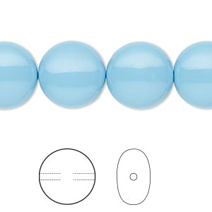 pearl, swarovski crystal gemcolors, turquoise, 14mm coin (5860). sold per pkg of 50.