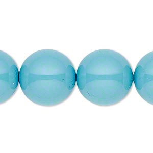 pearl, swarovski crystal gemcolors, turquoise, 16mm round with 1.3-1.5mm hole (5811). sold per pkg of 5.