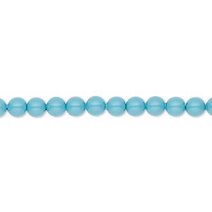 pearl, swarovski crystal gemcolors, turquoise, 4mm round (5810). sold per pkg of 500.