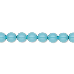 pearl, swarovski crystal gemcolors, turquoise, 6mm round (5810). sold per pkg of 50.
