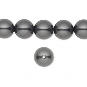 pearl, swarovski crystals, black, 10mm round with 1.3-1.5mm hole (5811). sold per pkg of 100.