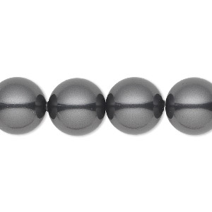 pearl, swarovski crystals, black, 12mm round with 1.3-1.5mm hole (5811). sold per pkg of 10.