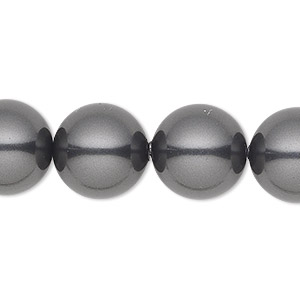 pearl, swarovski crystals, black, 14mm round with 1.3-1.5mm hole (5811). sold per pkg of 10.