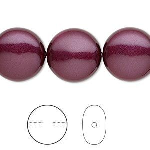 pearl, swarovski crystals, blackberry, 16mm coin (5860). sold per pkg of 5.