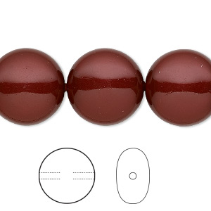 pearl, swarovski crystals, bordeaux, 16mm coin (5860). sold per pkg of 25.