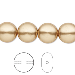 pearl, swarovski crystals, bright gold, 12mm coin (5860). sold per pkg of 10.