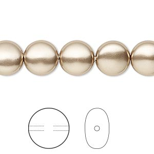 pearl, swarovski crystals, bronze, 10mm coin (5860). sold per pkg of 100.