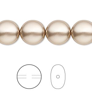 pearl, swarovski crystals, bronze, 12mm coin (5860). sold per pkg of 100.