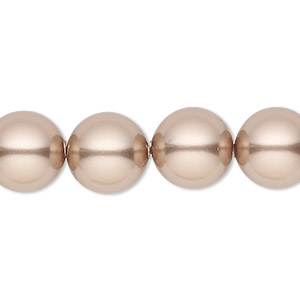 pearl, swarovski crystals, bronze, 12mm round with 1.3-1.5mm hole (5811). sold per pkg of 10.
