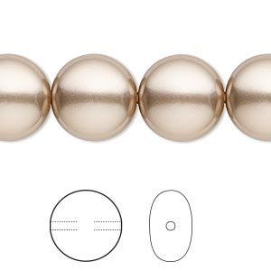 pearl, swarovski crystals, bronze, 14mm coin (5860). sold per pkg of 10.