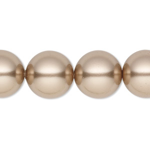 pearl, swarovski crystals, bronze, 14mm round with 1.3-1.5mm hole (5811). sold per pkg of 10.