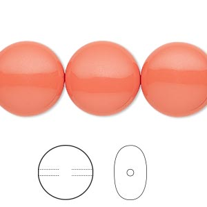 pearl, swarovski crystals, coral, 16mm coin (5860). sold per pkg of 25.