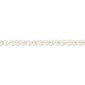pearl, swarovski crystals, cream, 3mm round (5810). sold per pkg of 100.