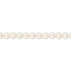 pearl, swarovski crystals, cream, 4mm round (5810). sold per pkg of 100.