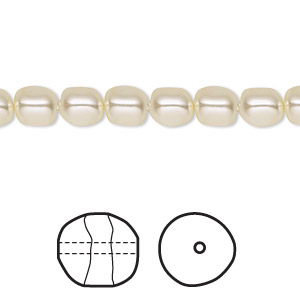 pearl, swarovski crystals, cream, 6mm baroque (5840). sold per pkg of 250.