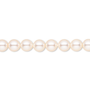 pearl, swarovski crystals, creamrose, 6mm round (5810). sold per pkg of 500.