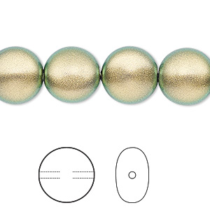 pearl, swarovski crystals, crystal iridescent green, 12mm coin (5860). sold per pkg of 100.