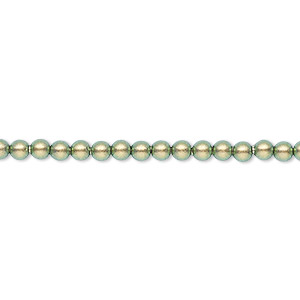 pearl, swarovski crystals, crystal iridescent green, 3mm round (5810). sold per pkg of 100.