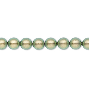 pearl, swarovski crystals, crystal iridescent green, 6mm round (5810). sold per pkg of 50.