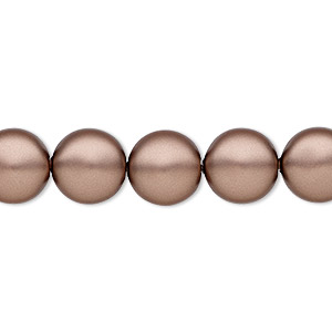 pearl, swarovski crystals, crystal passions, velvet brown, 10mm coin (5860). sold per pkg of 10.