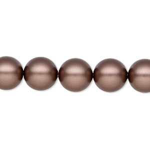 pearl, swarovski crystals, crystal passions, velvet brown, 10mm round (5810). sold per pkg of 25.