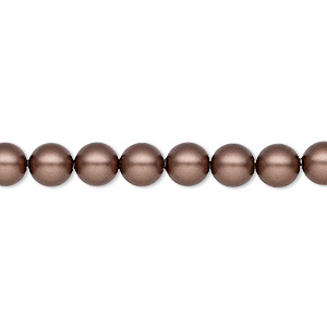 pearl, swarovski crystals, crystal passions, velvet brown, 6mm round (5810). sold per pkg of 50.