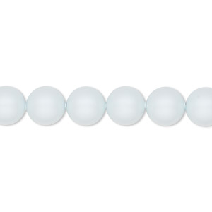 pearl, swarovski crystals, crystal pastel blue, 8mm round (5810). sold per pkg of 50.