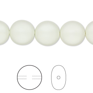 pearl, swarovski crystals, crystal pastel green, 12mm coin (5860). sold per pkg of 100.