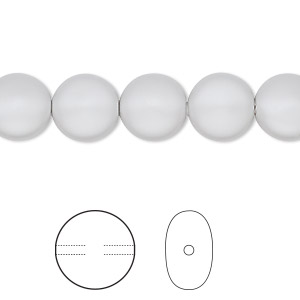pearl, swarovski crystals, crystal pastel grey, 10mm coin (5860). sold per pkg of 100.