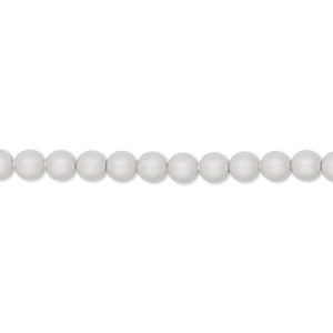 pearl, swarovski crystals, crystal pastel grey, 4mm round (5810). sold per pkg of 100.