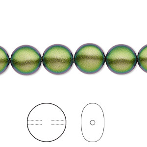 pearl, swarovski crystals, crystal scarabaeus green, 10mm coin (5860). sold per pkg of 100.