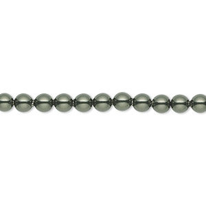 pearl, swarovski crystals, dark green, 4mm round (5810). sold per pkg of 100.