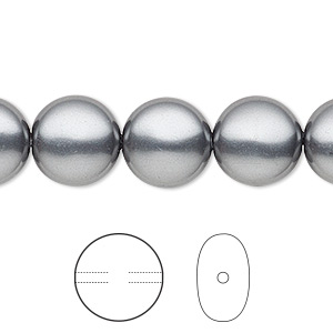pearl, swarovski crystals, dark grey, 12mm coin (5860). sold per pkg of 10.