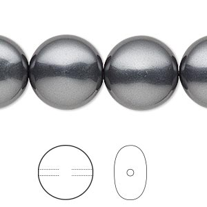 pearl, swarovski crystals, dark grey, 16mm coin (5860). sold per pkg of 25.