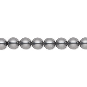 pearl, swarovski crystals, dark grey, 6mm round (5810). sold per pkg of 50.