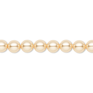 pearl, swarovski crystals, gold, 6mm round (5810). sold per pkg of 50.