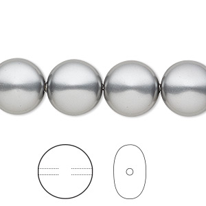 pearl, swarovski crystals, grey, 12mm coin (5860). sold per pkg of 10.