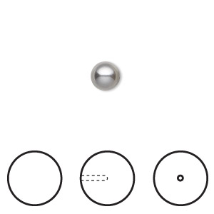 pearl, swarovski crystals, grey, 6mm half-drilled round (5818). sold per pkg of 500.