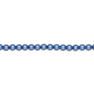 pearl, swarovski crystals, iridescent dark blue pearl, 3mm round (5810). sold per pkg of 100.