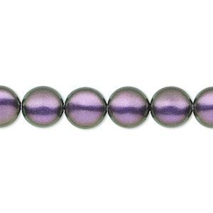 pearl, swarovski crystals, iridescent purple, 10mm coin (5860). sold per pkg of 10.