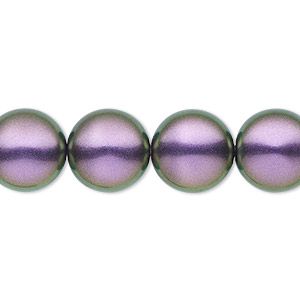 pearl, swarovski crystals, iridescent purple, 14mm coin (5860). sold per pkg of 10.