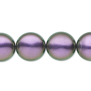pearl, swarovski crystals, iridescent purple, 16mm coin (5860). sold per pkg of 25.