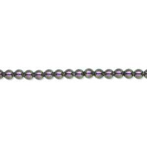 pearl, swarovski crystals, iridescent purple, 3mm round (5810). sold per pkg of 100.