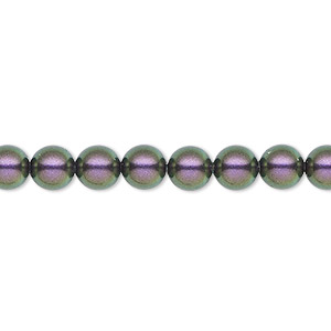 pearl, swarovski crystals, iridescent purple, 6mm round (5810). sold per pkg of 50.