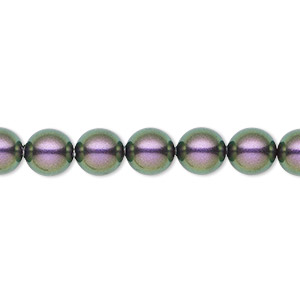 pearl, swarovski crystals, iridescent purple, 8mm round (5810). sold per pkg of 250.