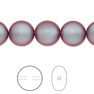 pearl, swarovski crystals, iridescent red, 12mm coin (5860). sold per pkg of 10.