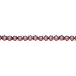 pearl, swarovski crystals, iridescent red, 3mm round (5810). sold per pkg of 1,000.