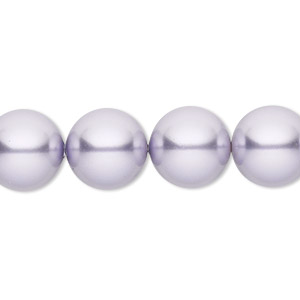 pearl, swarovski crystals, lavender, 12mm round (5810). sold per pkg of 10.