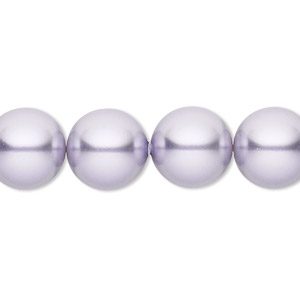 pearl, swarovski crystals, lavender, 12mm round with 1.3-1.5mm hole (5811). sold per pkg of 10.